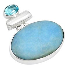 Natural blue angelite topaz 925 sterling silver pendant jewelry m56754