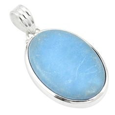 Natural blue angelite 925 sterling silver pendant jewelry m56757
