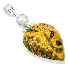 Natural multi color ocean sea jasper (madagascar) 925 silver pendant m56763