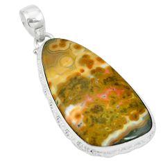 Natural multi color ocean sea jasper (madagascar) 925 silver pendant m56765