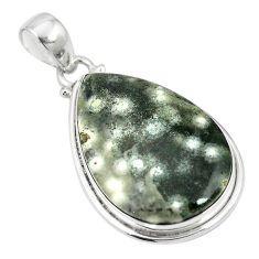 Natural multi color ocean sea jasper (madagascar) 925 silver pendant m56778