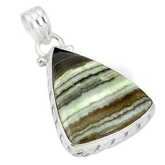 Natural black banded oil shale 925 sterling silver pendant m56783