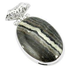 Natural black banded oil shale 925 sterling silver pendant m56786