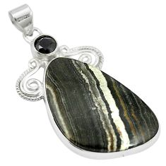 Natural black banded oil shale onyx 925 sterling silver pendant m56788