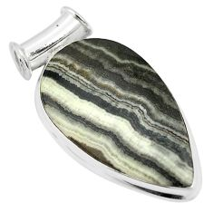 Natural black banded oil shale 925 sterling silver pendant m56799