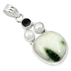Natural green tourmaline in quartz onyx 925 silver pendant m57517