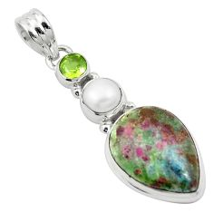 Natural pink ruby in fuchsite peridot 925 silver pendant jewelry m57681