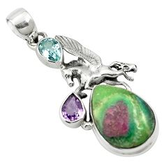 Natural pink ruby in fuchsite amethyst topaz 925 silver pendant m57682