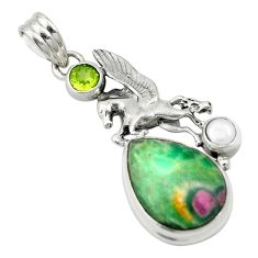 Natural pink ruby in fuchsite peridot 925 silver pendant jewelry m57689