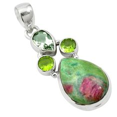 Natural pink ruby in fuchsite peridot 925 silver pendant jewelry m57692