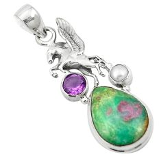 Natural pink ruby in fuchsite amethyst 925 silver pendant jewelry m57694
