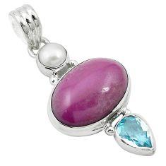 Natural purple phosphosiderite (hope stone) 925 sterling silver pendant m57747