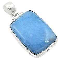 Natural blue angelite 925 sterling silver pendant jewelry m57986