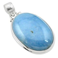 Natural blue angelite 925 sterling silver pendant jewelry m57993