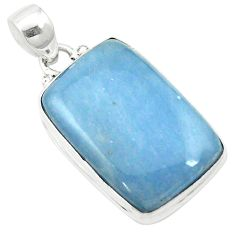 Natural blue angelite 925 sterling silver pendant jewelry m57994