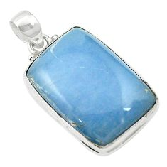 Natural blue angelite 925 sterling silver pendant jewelry m57996