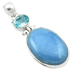 Natural blue angelite topaz 925 sterling silver pendant jewelry m58011