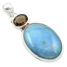 Natural blue angelite smoky topaz 925 sterling silver pendant m58015