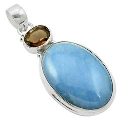 925 sterling silver natural blue angelite brown smoky topaz pendant m58019