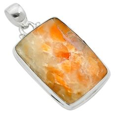 Natural orange calcite 925 sterling silver pendant jewelry m58074