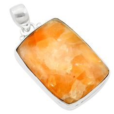 Natural orange calcite 925 sterling silver pendant jewelry m58078