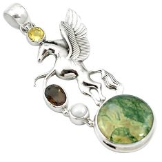 Natural green moss agate smoky topaz 925 silver unicorn pendant m58161