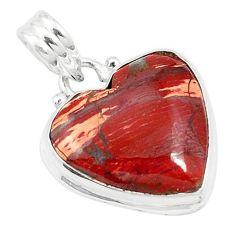 Natural red snakeskin jasper heart 925 sterling silver pendant jewelry m58285