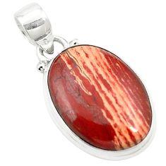 Natural red snakeskin jasper 925 sterling silver pendant jewelry m58288
