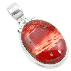 Natural red snakeskin jasper 925 sterling silver pendant jewelry m58291