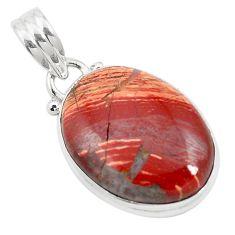 Natural red snakeskin jasper 925 sterling silver pendant jewelry m58296