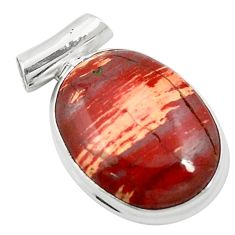 Natural red snakeskin jasper 925 sterling silver pendant jewelry m58297