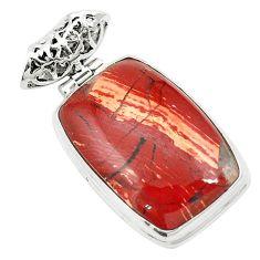 Natural red snakeskin jasper 925 sterling silver pendant jewelry m58319