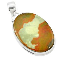 24.81cts natural brown landscape picture jasper 925 silver pendant m58349
