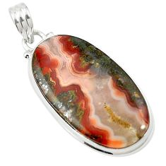 25.00cts natural brown moroccan seam agate 925 sterling silver pendant m58418