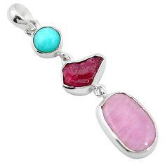 Natural pink kunzite peruvian amazonite 925 silver pendant jewelry m58948