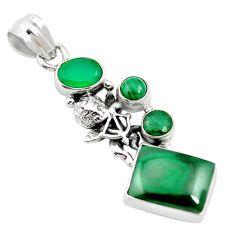 Natural green malachite (pilot's stone) 925 silver pendant m60495