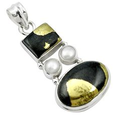 Natural golden pyrite in magnetite (healer's gold) 925 silver pendant m60531