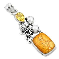 Natural yellow fossil coral (agatized) petoskey stone 925 silver pendant m60565