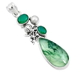 Natural green moss agate chalcedony 925 sterling silver pendant m60566
