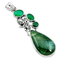 Natural green moss agate chalcedony 925 sterling silver pendant m60567