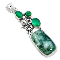 Natural green moss agate chalcedony 925 sterling silver pendant m60569