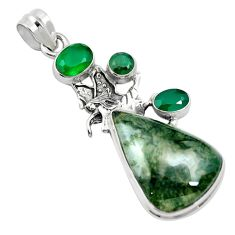 Natural green moss agate chalcedony 925 sterling silver pendant m60571