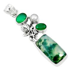 Natural green moss agate chalcedony 925 sterling silver pendant jewelry m60573