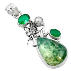 925 sterling silver natural green moss agate chalcedony pendant jewelry m60575