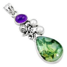 925 sterling silver natural green moss agate amethyst pendant m60579