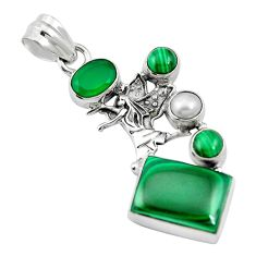 Natural green malachite (pilot's stone) 925 silver pendant jewelry m60582