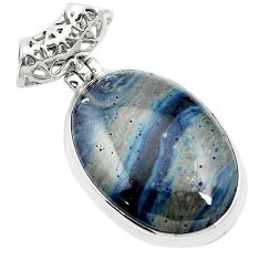23.46cts natural blue swedish slag 925 sterling silver pendant jewelry m62312
