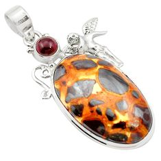 26.05cts natural brown bauxite garnet 925 sterling silver pendant jewelry m62544