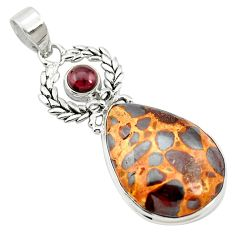 22.02cts natural brown bauxite garnet 925 sterling silver pendant jewelry m62545