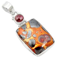 19.72cts natural brown bauxite garnet 925 sterling silver pendant jewelry m62546
